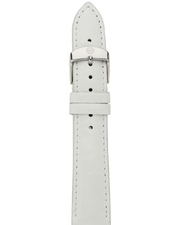 MICHELE 18mm Patent Watch Strap, White