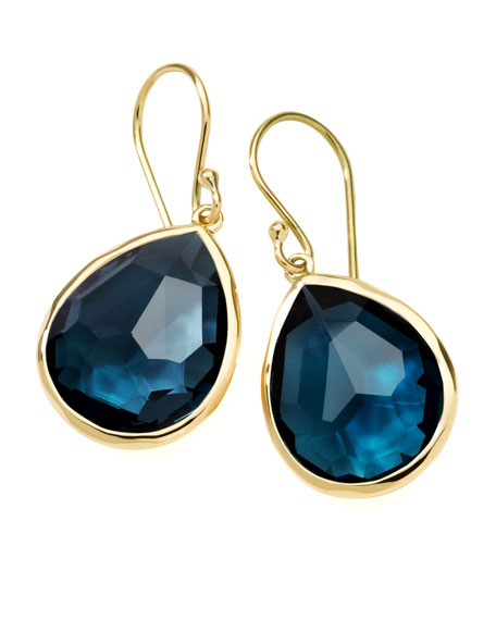 Medium Teardrop Earrings, London Blue Topaz