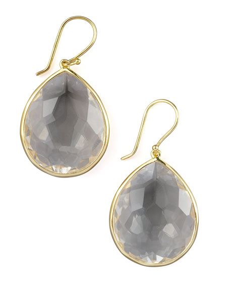 18k Rock Candy Large Teardrop Earrings, Clear Quartz