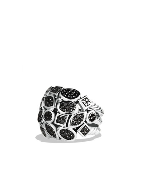 Confetti Four-Row Ring with Black Diamonds