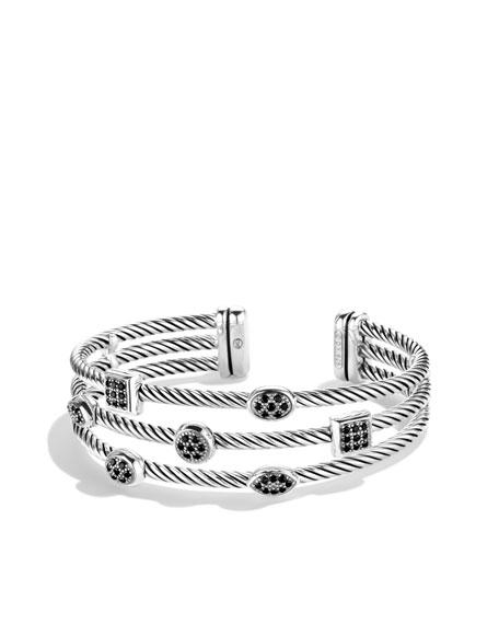 Confetti Three-Row Cuff with Black Diamonds