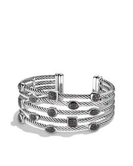 David Yurman Confetti Five-Row Cuff with Black Diamonds