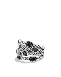 David Yurman Confetti Four-Row Ring with Black Diamonds