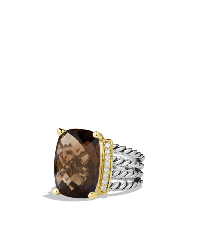 David Yurman Wheaton Ring with Smoky Quartz, Diamonds, and Gold