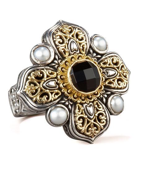 Onyx & Pearl Cross Ring