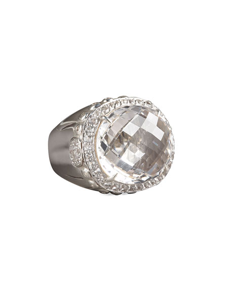 Bamboo White Topaz Dome Ring