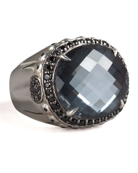 BAMBOO HEMATITE DOME RING