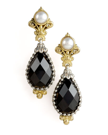 Pearl & Onyx Oval Drop Earrings