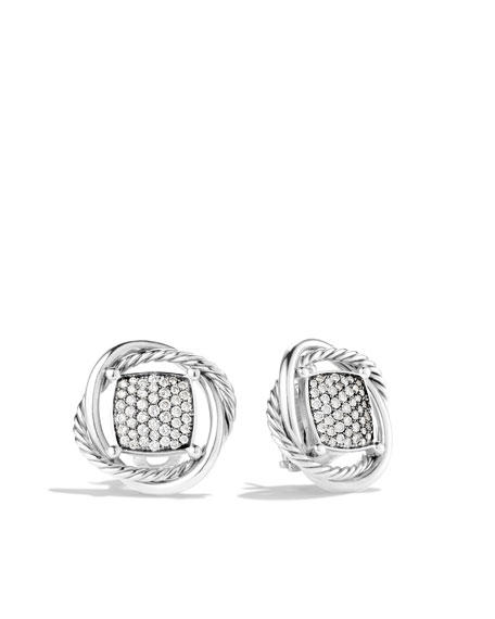 Infinity Earrings, Pave Diamond, 11mm
