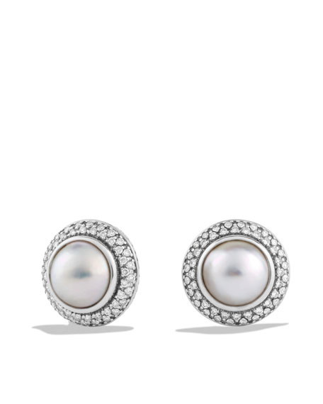 Cerise Earrings with Pearls and Diamonds