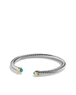 David Yurman Cable Classics Bracelet with Turquoise and Gold