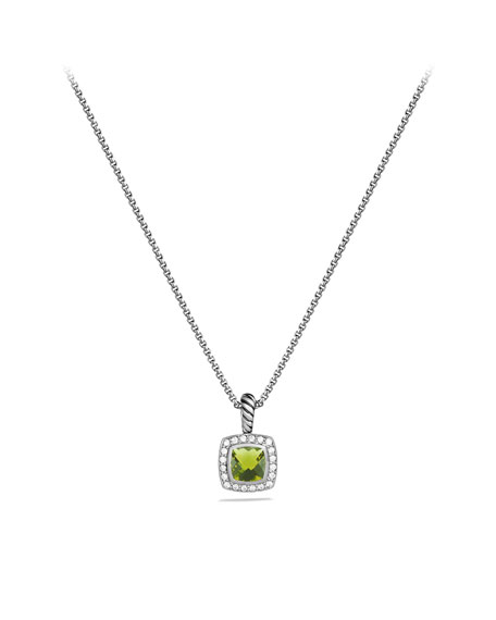 Petite Albion Pendant with Peridot and Diamonds on Chain