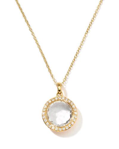 18k Gold Rock Candy Mini Lollipop Diamond Necklace in Clear Quartz