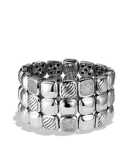 Chiclet Three-Row Bracelet with Diamonds