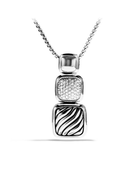 Chiclet Small Triple-Drop Pendant on Chain