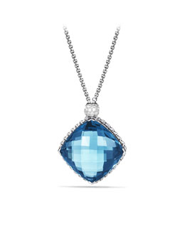David Yurman Cushion on Point Pendant with Hampton Blue Topaz and Diamonds on Chain