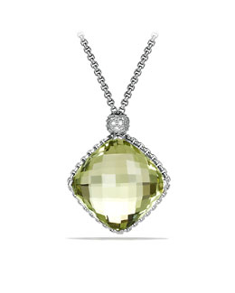 David Yurman Cushion on Point Pendant with Prasiolite and Diamonds on Chain