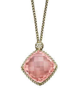 David Yurman Cushion on Point Pendant with Morganite and Diamonds in Gold on Chain