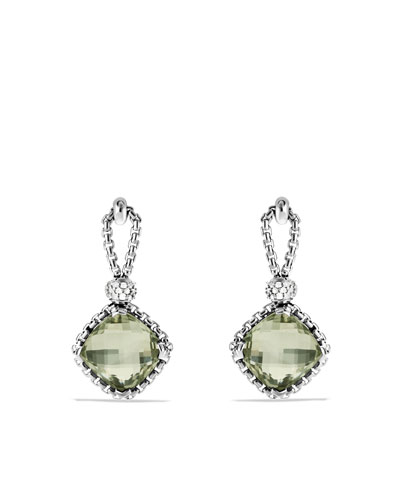David Yurman Cushion on Point Earrings with Prasiolite and Diamonds
