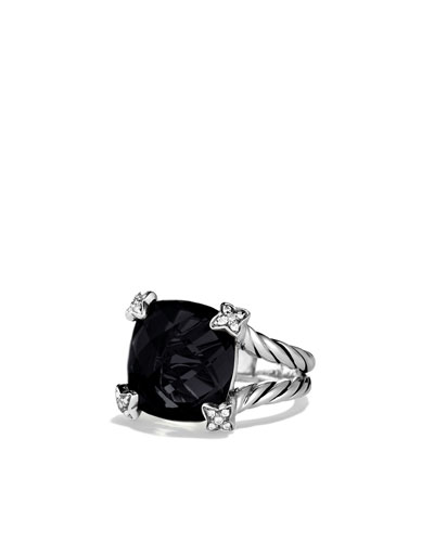 David Yurman Cushion On Point Ring with Black Onyx and Diamonds
