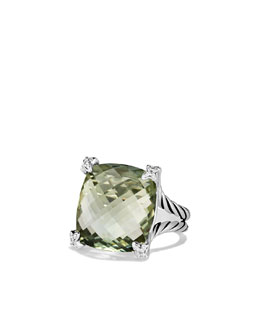 David Yurman Cushion On Point Ring with Prasiolite and Diamonds