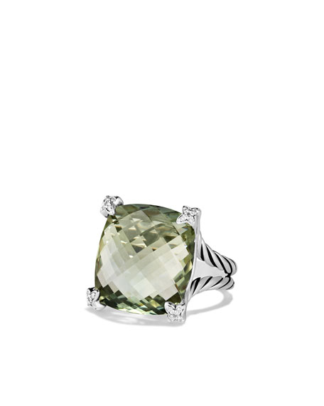 Cushion On Point Ring with Prasiolite and Diamonds