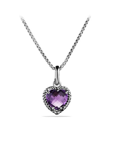 David Yurman Cable Heart Pendant with Amethyst