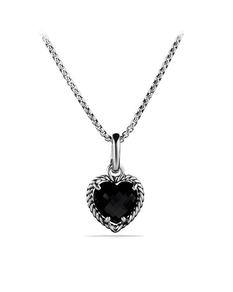 Cable Heart Pendant with Black Onyx