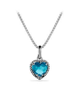 David Yurman Cable Heart Pendant with Hampton Blue Topaz