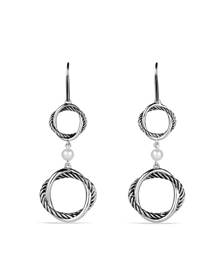 Infinity Double-Drop Earrings with Pearls