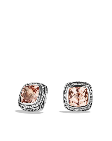 Albion Earrings with Morganite, Diamonds, and Rose Gold