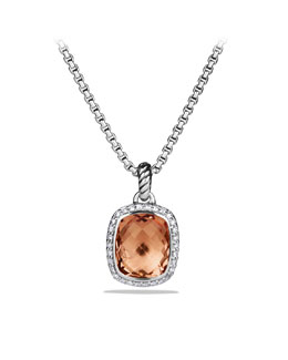 David Yurman Noblesse Pendant with Morganite and Diamonds on Chain
