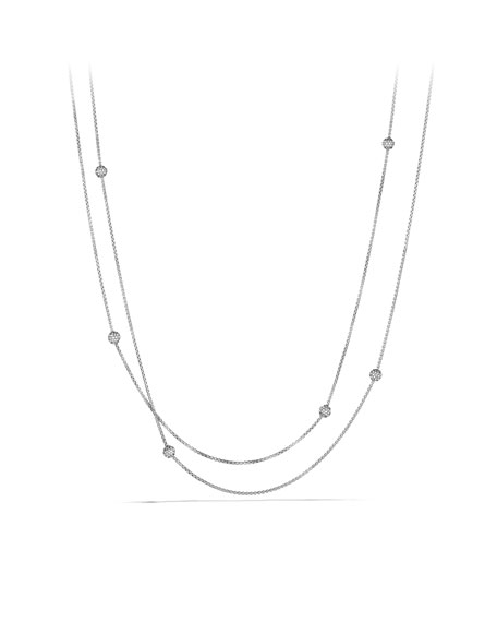 "Petite Pave Bead Necklace, 72""L"