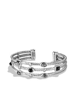 David Yurman Confetti Three-Row Cuff with Black Onyx, Hematine, and Diamonds
