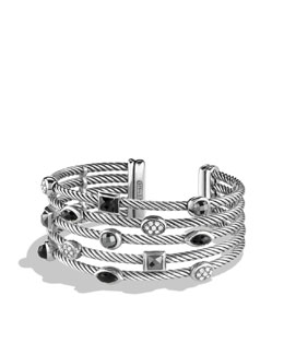 David Yurman Confetti Five-Row Cuff with Black Onyx, Hematine, and Diamonds