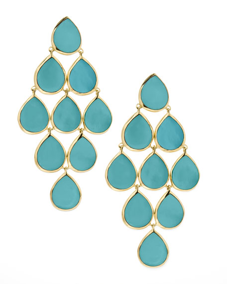 18k Rock Candy Cascade Earrings in Turquoise