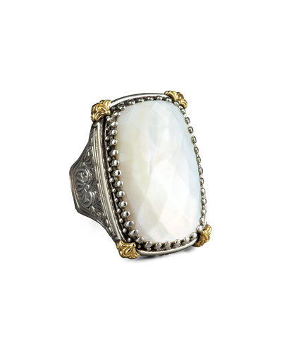 Konstantino Rectangular Mother of Pearl Selene Ring