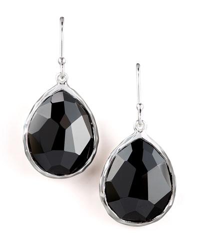 Small Teardrop Earrings, Black Onyx