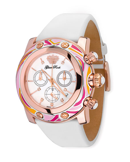 46mm Smalto Chronograph Watch, Pink