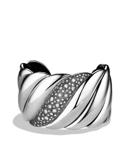 David Yurman Sculpted Cable Wide Cuff with Diamonds