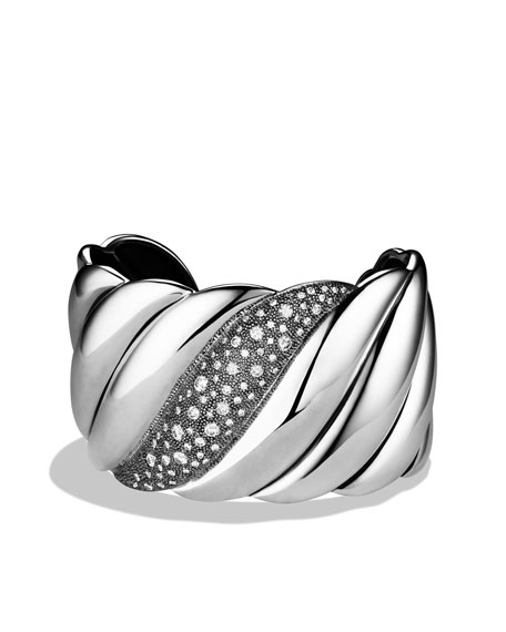 Sculpted Cable Wide Cuff with Diamonds