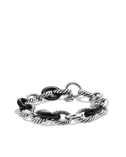 David Yurman Chain Bracelet, Black Ceramic