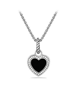 David Yurman Cable Heart Charm with Black Onyx and Diamonds