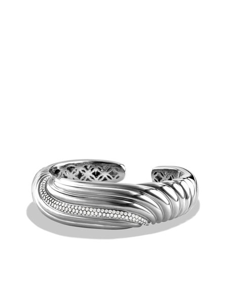 Sculpted Cable Narrow Cuff with Diamonds