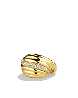 David Yurman Sculpted Cable Dome Ring with Diamonds in Gold