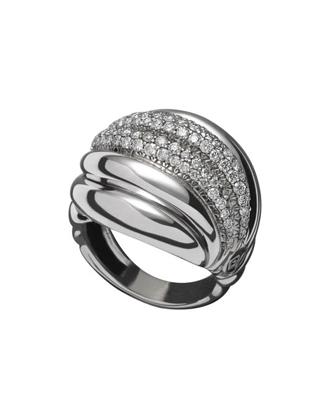 Pave Diamond Sculpted Cable Ring