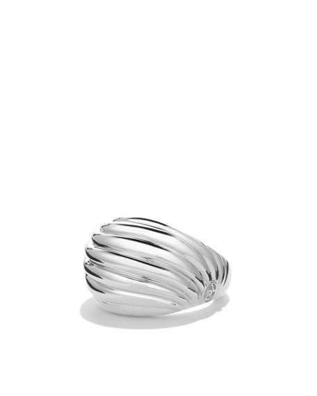 Sculpted Cable Small Dome Ring