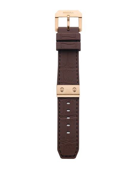 Brown Crocodile-Embossed Rubber Strap, 22mm