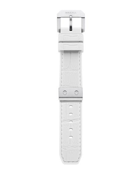 White Silver Rubber Strap, 22mm