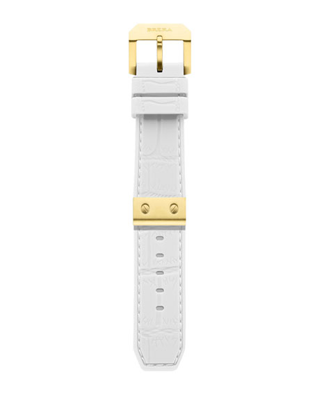 White-Yellow Golden Rubber Strap, 22mm
